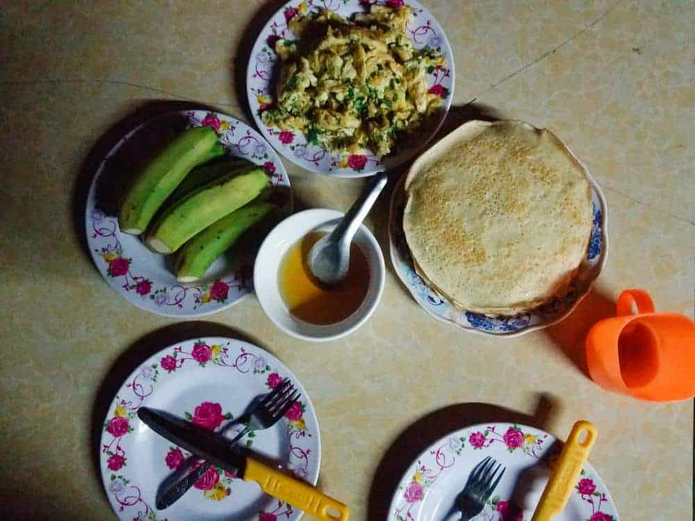 traditional homestay breakfast in Sapa