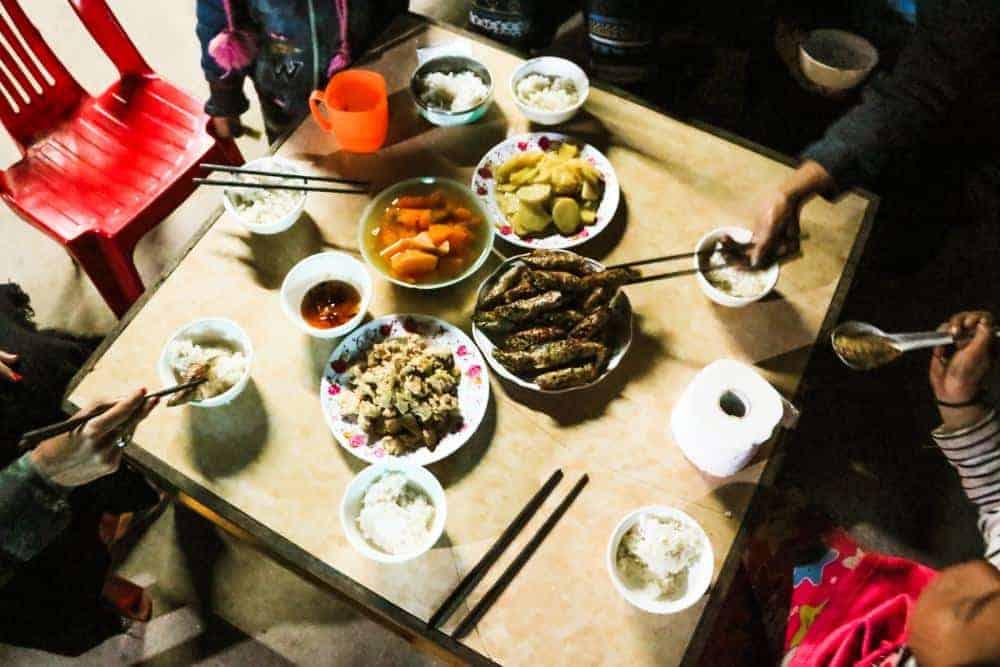 Food at my homestay in Sapa Vietnam