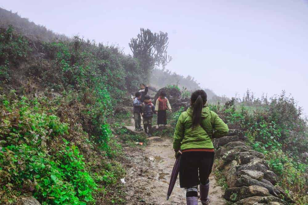 Kids coming back after school...just a normal day in Sapa