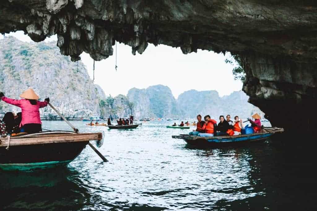 Row boat tour of Halong Bay