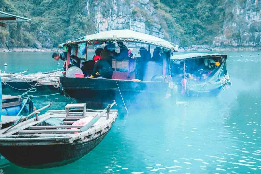 Locals fishing on Halong Bay