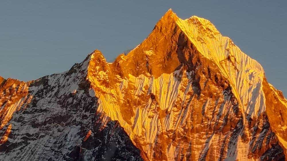 This majestic peak in the Himalayas is called Machapuchare or Fish Tail Mountain and is a sacred peak in the Hindu religion