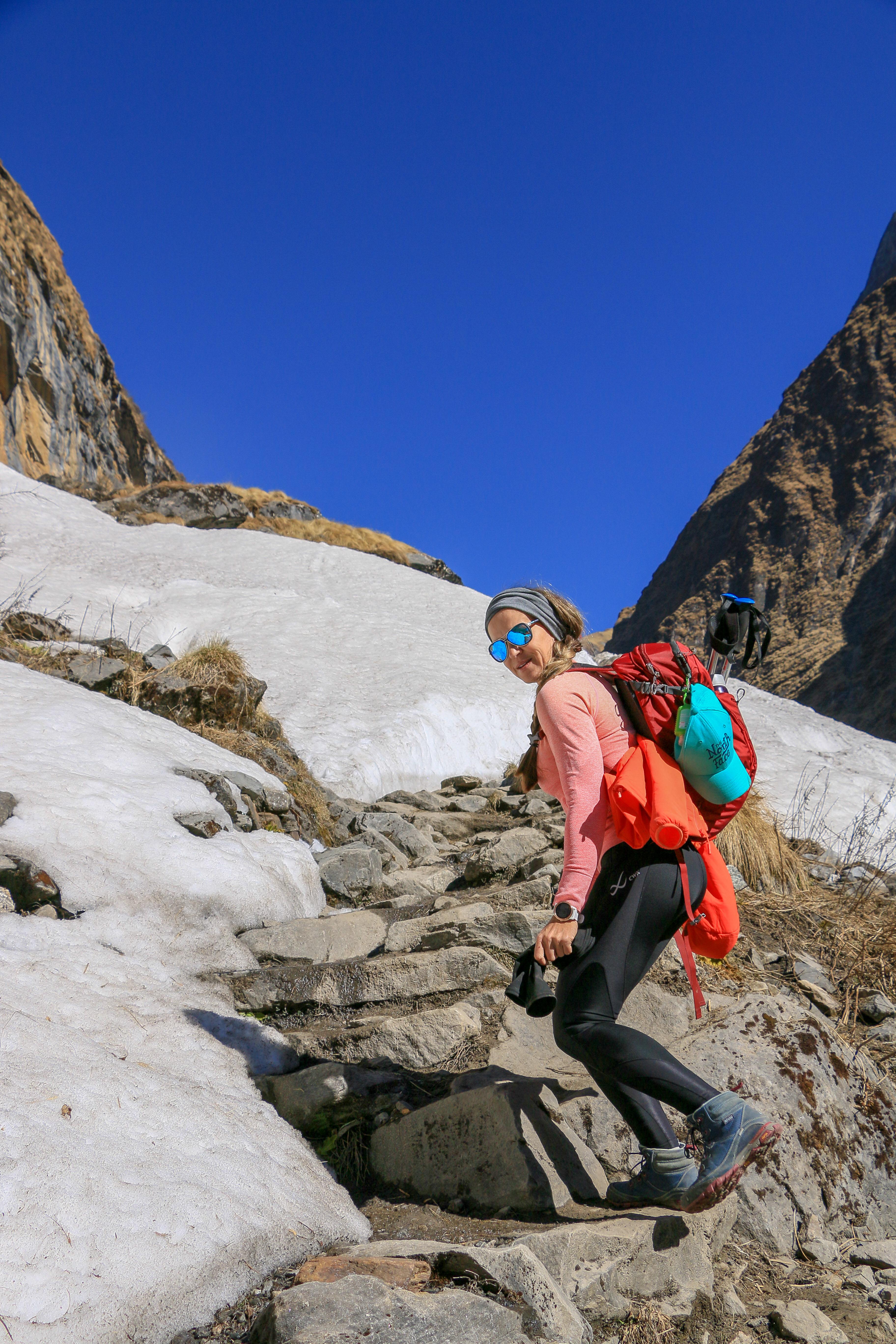 Paula climbing mountain snow