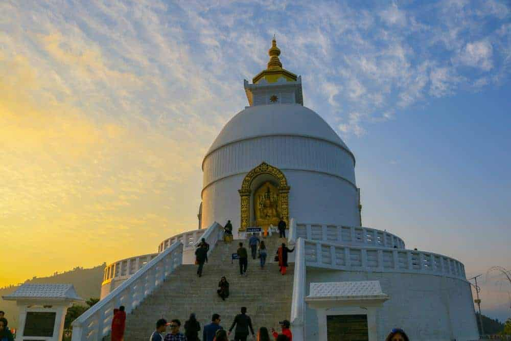 The World Peace Pagoda was constructed by Buddhist monks from the Japanese Nipponzan Myohoji organization