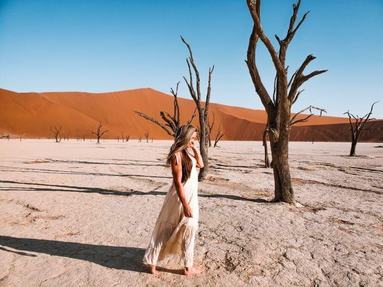 Walking in the vast clay of sossusvlei