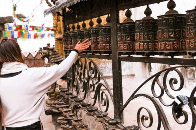 The prayer wheels are a interesting facts about nepal