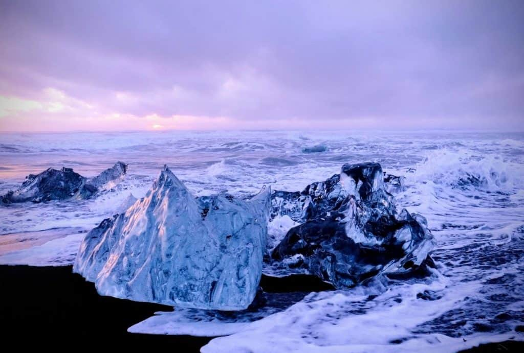 Diamond beach is one of the most famous landmarks in Iceland